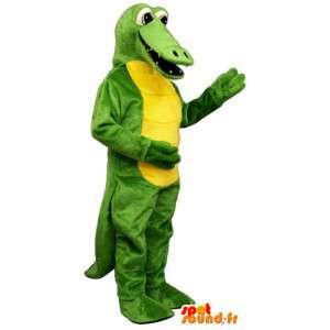Keltainen ja vihreä krokotiili maskotti - Crocodile Costume