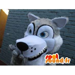 Wolf-Maskottchen mit blauen Augen und weißem Fell - Kostüm-Partei - MASFR00245 - Maskottchen-Wolf
