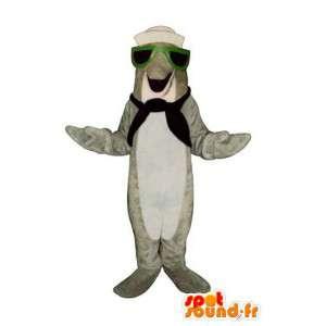 船乗りに扮した灰色のイルカのマスコット-イルカのコスチューム-MASFR003176-イルカのマスコット