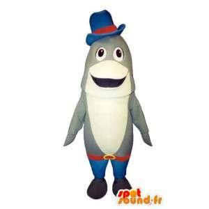 赤と青に身を包んだ灰色と白のイルカのマスコット-MASFR003183-イルカのマスコット