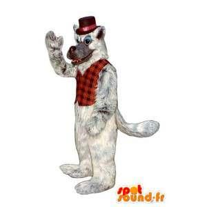 Wolf-Maskottchen Grau und Weiß - Wolf Kostüm haarig - MASFR003184 - Maskottchen-Wolf