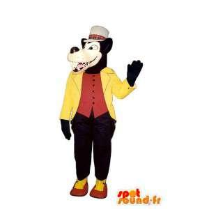 Musta susi maskotti pukeutunut keltainen ja punainen - susi puku - MASFR003187 - Wolf Maskotteja