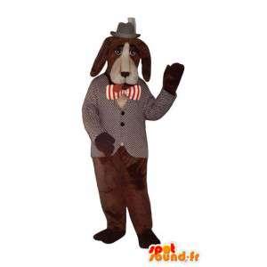 Mascotte de chien marron en costume gris et noir  - MASFR003191 - Mascottes de chien
