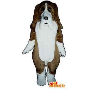 Mascot marrón y basset blanco - Traje de Perro - MASFR003193 - Mascotas perro