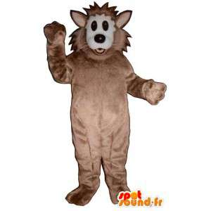 Wolf Mascot brun og hvit plysj - Wolf Costume - MASFR003197 - Wolf Maskoter