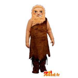 Mascot hombre prehistórico con su piel de los animales
