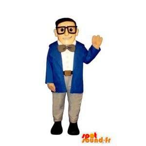 Mascotte d'homme d'affaires en costume bleu, avec des lunettes