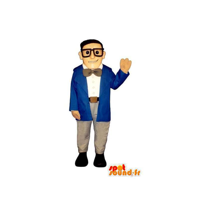 Mascotte d'homme d'affaires en costume bleu, avec des lunettes - MASFR003201 - Mascottes Homme