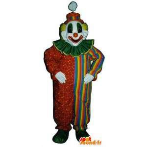 Mascotte veelkleurige clown - kleurrijke clown kostuum