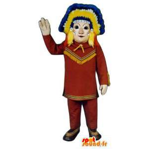 Värikäs Intian Mascot - intiaanipäällikkö Costume - MASFR003208 - Mascottes Homme