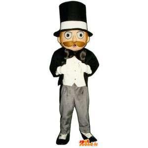 Μασκότ άνθρωπος σε μαύρο και λευκό σμόκιν και ημίψηλο καπέλο