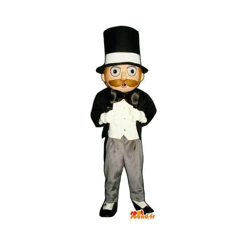 Mascot man in het zwart en witte smoking en hoge hoed - MASFR003209 - man Mascottes