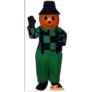 Græskarformet maskot i grøn overall - Spotsound maskot
