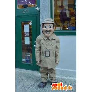 Detektivmaskot i beige frakke - Detektivdragt - Spotsound maskot