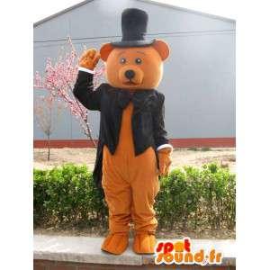 Hnědý medvěd maskot kostým - oblečený na svatbu