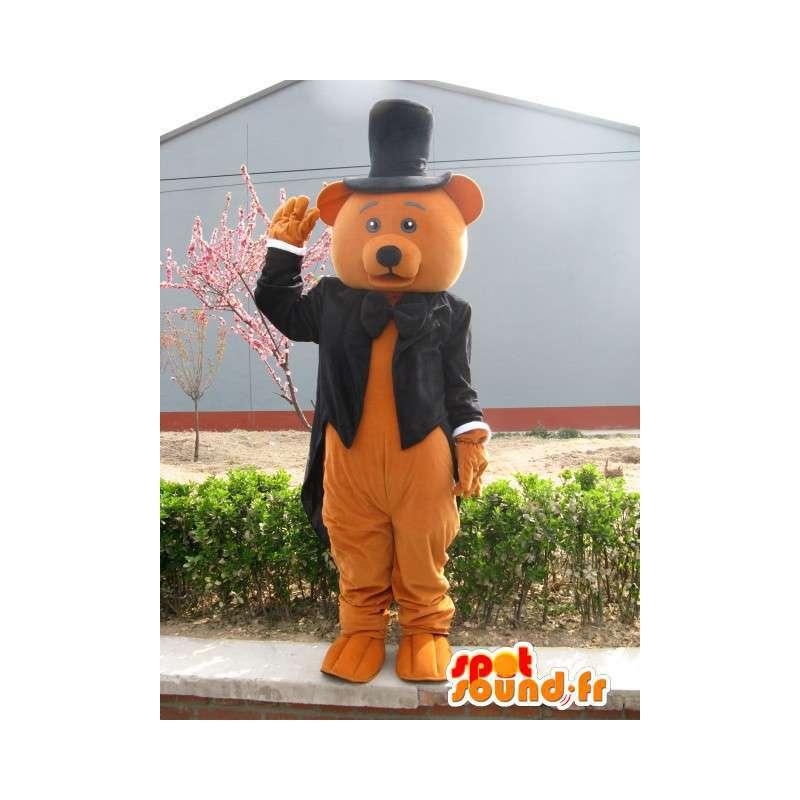 Hnědý medvěd maskot kostým - oblečený na svatbu - MASFR00248 - Bear Mascot