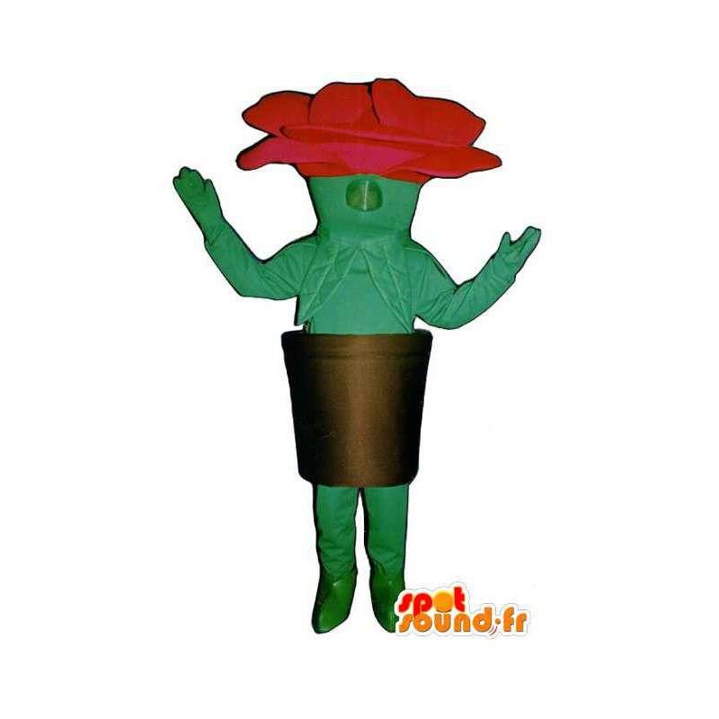 Mascot vormige roze rode en groene reus in zijn pot - MASFR003230 - Niet-ingedeelde Mascottes