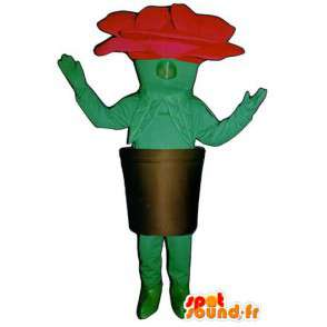 Mascot shaped red rose and green giant in the pot - MASFR003230 - Mascots unclassified