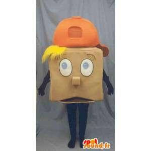 Mascotte carrée de garçon blond avec une casquette orange