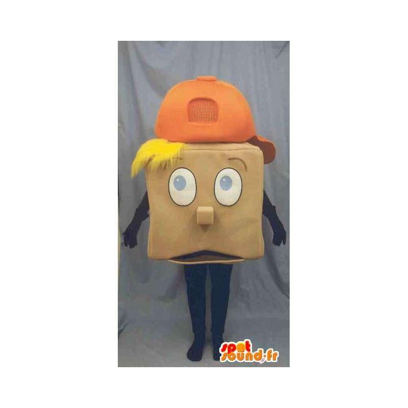 Neliö maskotti vaalea poika oranssi korkki - MASFR003234 - Maskotteja Boys and Girls