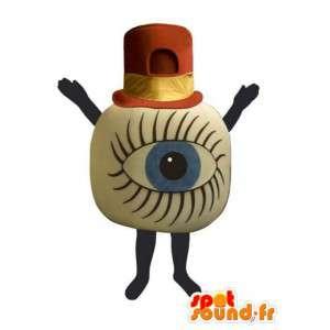 Reusachtige oogappel mascotte met een rode en gele hoed - MASFR003243 - Niet-ingedeelde Mascottes