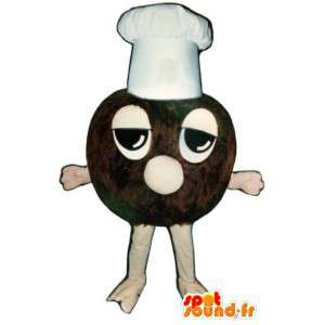 Μασκότ τρούφα σοκολάτας με λευκό καπέλο