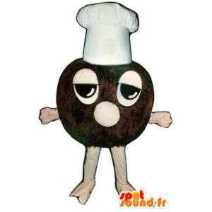 Mascot trufa de chocolate con una gorra blanca - MASFR003249 - Mascotas de pastelería