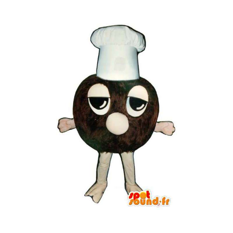 Mascot truffle chocolate with a white cap - MASFR003249 - Mascots of pastry