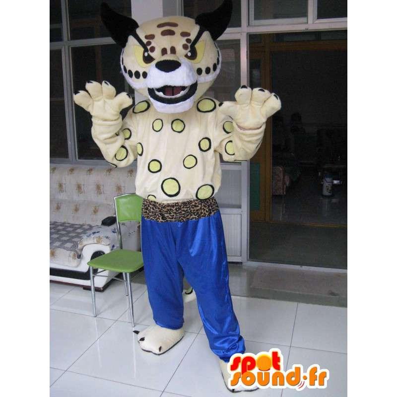 Μασκότ Τίγρης Kung Fu - μπλε παντελόνι - Ειδική βελούδινα καράτε - MASFR00247 - Tiger Μασκότ