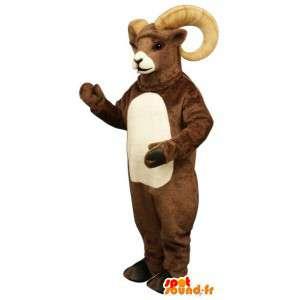 Hnědá a bílá koza maskot - hnědá ram Costume