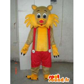Mascotte chat à bretelles jaune et rouge - Costume de salopette - MASFR00250 - Mascottes de chat
