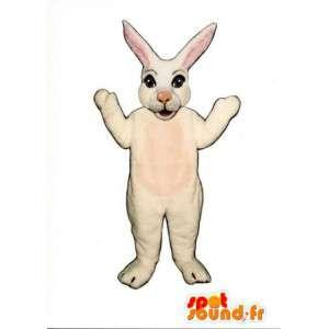 Bílý králík maskot a růžové s velkými ušima