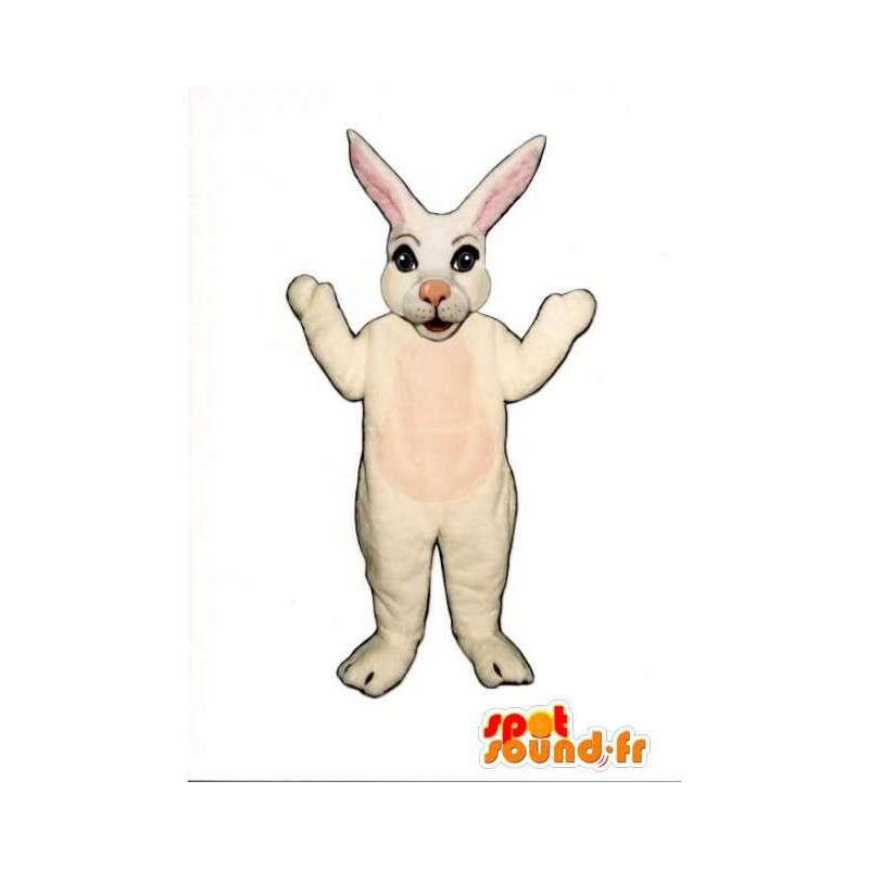 Mascotte de lapin blanc et rose à grandes oreilles - MASFR003268 - Mascotte de lapins