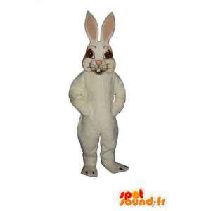 Maskot hvid og lyserød kanin med store ører - Spotsound maskot