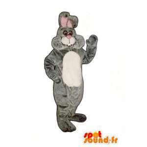 Mascot grauen und weißen Plüsch-Kaninchen - Kaninchen-Kostüm