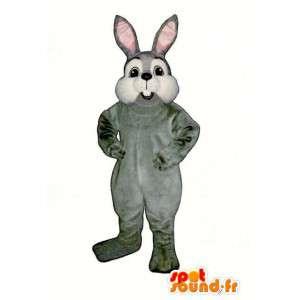 Plys grå og hvid kanin maskot - Kanin kostume - Spotsound maskot
