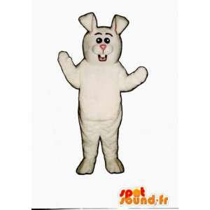 White Rabbit maskot - gigantisk hvit kanin drakt