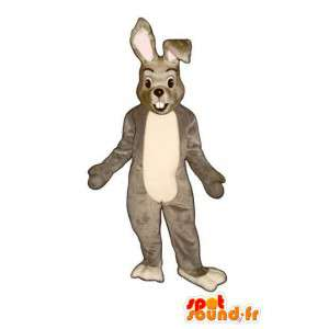 Šedá a bílá bunny maskot - Rabbit Kostým plyšový