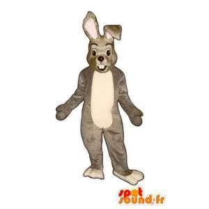 Mascotte de lapin gris et blanc - Costume de lapin en peluche