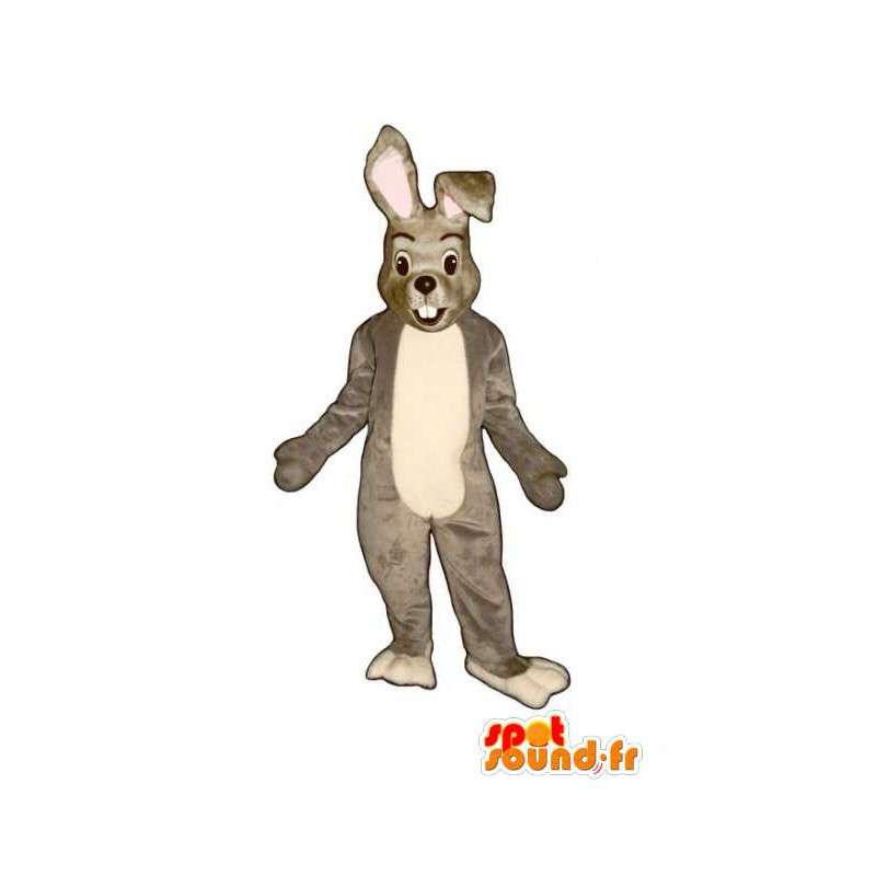 Grijze en witte bunny mascotte - Konijnenpak Plush - MASFR003276 - Mascot konijnen