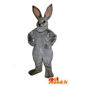 灰色のウサギのマスコットと現実的なピンク - ウサギのコスチューム