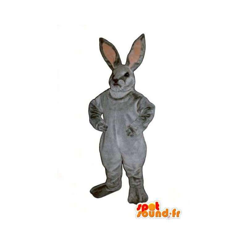 γκρι μασκότ κουνελιών και ρεαλιστική ροζ - φορεσιά κουνέλι - MASFR003278 - μασκότ κουνελιών