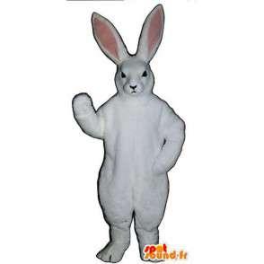 Mascotte de lapin blanc et rose à grandes oreilles - MASFR003279 - Mascotte de lapins