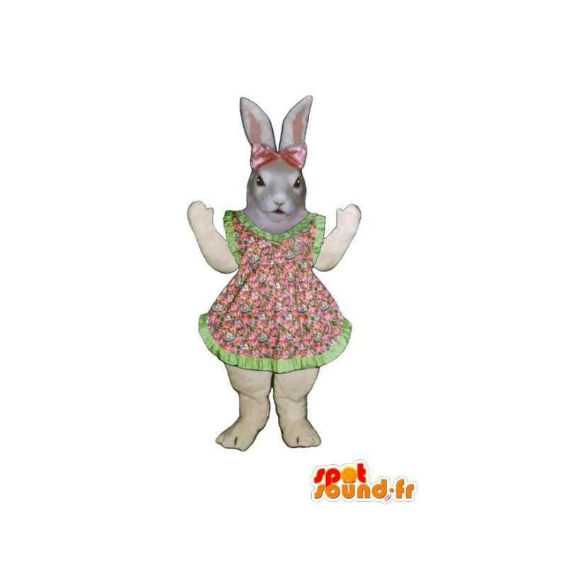 Mascot Osterhase Kleid rosa und grünen Blumen - MASFR003280 - Hase Maskottchen