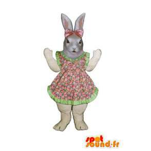Mascot Easter bunny dress with pink flowers and green - MASFR003280 - Rabbit mascot