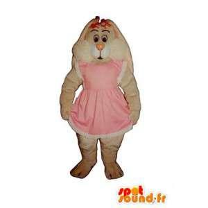 Biały królik maskotka, owłosione różowy strój