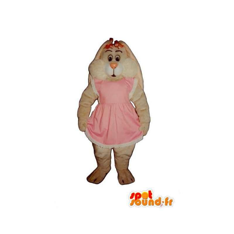 White rabbit mascot all hairy pink dress - MASFR003281 - Rabbit mascot