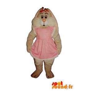 Mascotte de lapin blanc tout poilu en robe rose - MASFR003281 - Mascotte de lapins