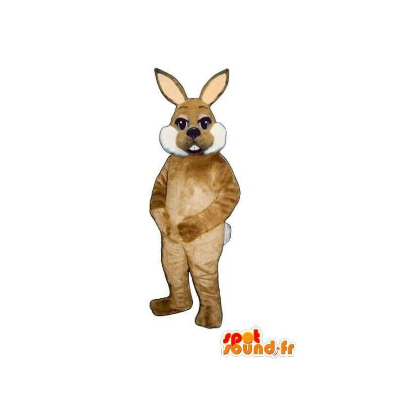 Mascotte de lapin marron et blanc tout poilu - Costume de lapin - MASFR003283 - Mascotte de lapins
