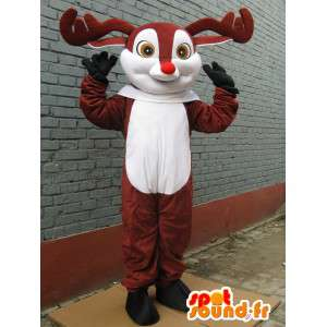 Mascot Deer tre - Petit Nicolas - rød nese maskot til jul